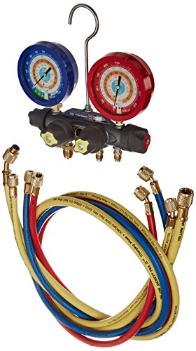 Yellow Jacket 49955 Titan 4-Valve Test and Charging Manifold degrees F, psi Scale, R-134A/404A/407C Refrigerant, Liquid Gauges (Refrigerant Scale Yellow Jacket compare prices)