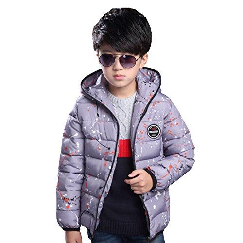 General Kinder Winter Mode koreanischen junge Kinder plantschen Kinder aus Baumwolle gesteppte Jacke Mantel grau (160)