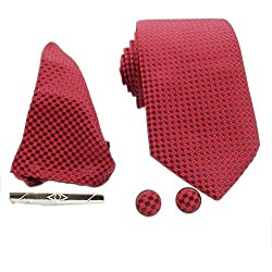 Archies Four Piece Royal Classy Red Tie Set(Tie, Tie Pin, Cufflinks and Pocket Square) -TS-89070890010496-Red-Maroon-Check