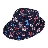 EOZY 子供用中折れ帽子 つば広ハット コットン帽子 リボン模様 吸汗通気 UVカット 紫外線防止 頭囲約54cm 夏お出かけ旅行通学