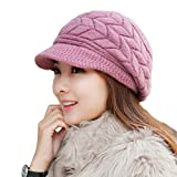 HindaWi Women Winter Warm Knit Hat Wool Snow Caps With Visor, Purple