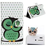 2 in1 Accessory Set 3D Leather Case Little Owl Flip Case Polka Dot Case Flower Cover fairytale Stand Case for HTC One mini M4 by credit card Card Wallet hole Handmade Book Hybrid wallet Sweet Animals Cartoon Wood + Luxury Bling Glitter Diamond Crystal Owl Animals anti-dust stopper plug – White Green Yellow Black by NYC Leather Factory Outlet