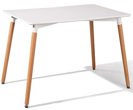 Table à manger coloris blanc et hêtre - Dim : L 120 x H 80 x P 73.5 cm -PEGANE-