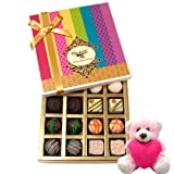 Valentine Chocholik Premium Gifts - Natural Collection Chocolates Of White And Dark Chocolate Box With Teddy