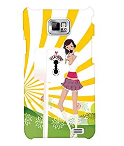 Fuson Telephone Booth Girl Back Case Cover for SAMSUNG GALAXY S2 - D3982