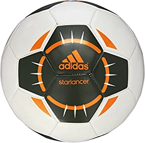 adidas Performance Starlancer IV Soccer Ball, White/Base Green/Lucky Orange, Size 4