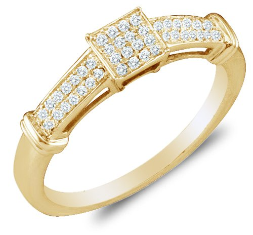 Cheapest Size 6.5 - 10K Yellow Gold Diamond Engagement Ring - Square Princess Shape Center Setting w/ Micro Pave Set Round Diamonds - (.15 cttw)