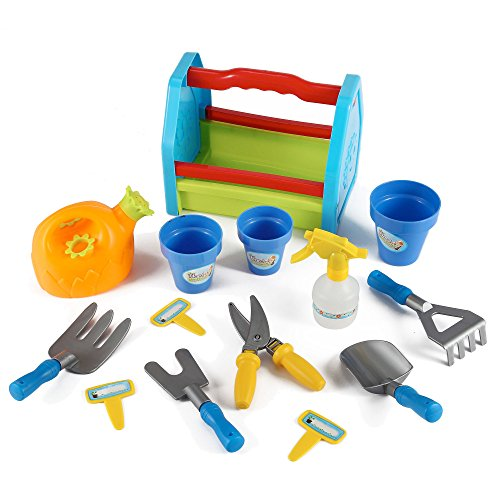 Rainbow gardening tool box 14pc garden tools toy set for for Gardening tools and accessories