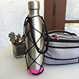 S'well Water Bottle Carrier - Durable, Stylish Net with Handle for Cola Shaped Bottles (Black, 25 oz / 750 ml)