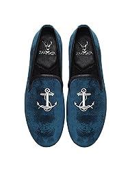 Bareskin Mens Handmade Blue Velvet Slipon With Silver Anchor Embroidery - Limited Edition