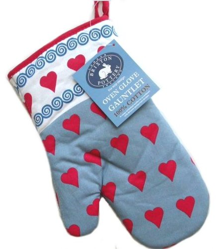 Brixton Pottery Hearts Oven Glove Gauntlet By Ecp Design