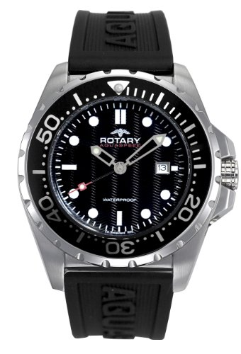 Rotary AGS00013/W/04 - Reloj de caballero de cuarzo, correa de caucho color negro