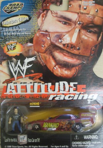 WWF / WWE - 1999 - Jakks - Road Champs - Attitude Racing - Mankind Nitro Funny Car - NHRA - w/ Bonus Collector Figure - 1:64 Scale - Die Cast Metal - New - Limited Edition - Collectible