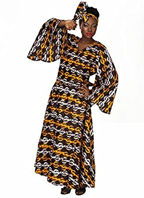 African Planet Women's V-Neck Wrap around dress Printed Brown Wax Bell sleeves