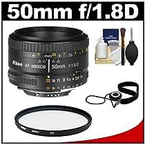 Nikon 50mm F/1.8D AF Nikkor Lens + UV Filter + Accessory Kit for D3200, D3300, D5200, D5300, D7000, D7100, D610, D800, D810, D4s DSLR Cameras