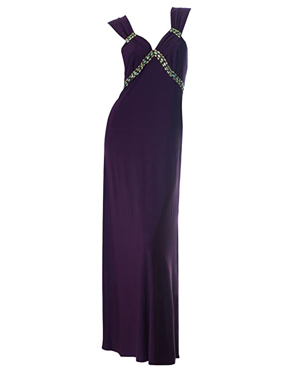 Ever Pretty V-Neck Rhinestones Open Back Stretchy Purple Evening Dress 09533