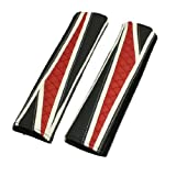 2 Pcs Red Black White Faux Leather Grid Seatbelt Cover Pad for Car