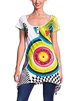 Desigual Mila - T-Shirt - Imprimé - Col à boutons - Manches courtes - Femme