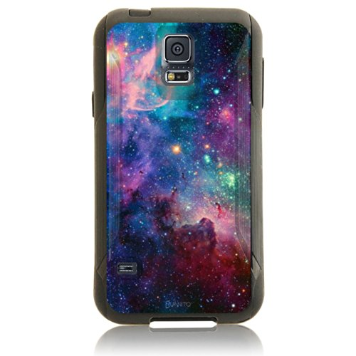 Galaxy S5 Case, UnnitoTM [Dual Layer]1 Year Warranty Case Protective [Custom] Commuter Protection Cover Galaxy SV (Black - Galaxy Nebula) (Custom Otterbox S5 compare prices)