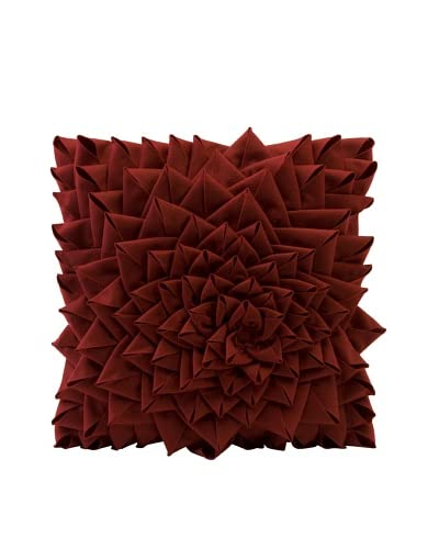 Fontella Hand-Sewn Felt Rose Pillow, Red As You See