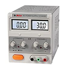 Dr.Meter® HY3005D Variable Linear Single-Output DC Power Supply, 0-30V @ 0-5A; [Alligator to Banana and AC Power Cable Included]