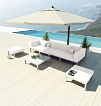 Hot Sale NEW Uduka Modern Outdoor Sectional Patio Furniture Dana C7 Off White All Weather Couch Sofa Set