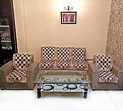 Shc Gold Check Maroon Polycotton Sofa Slipcover Set