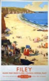Vintage Poster Shop Vintage British Rail Filey Beach Railway Poster A3 Print