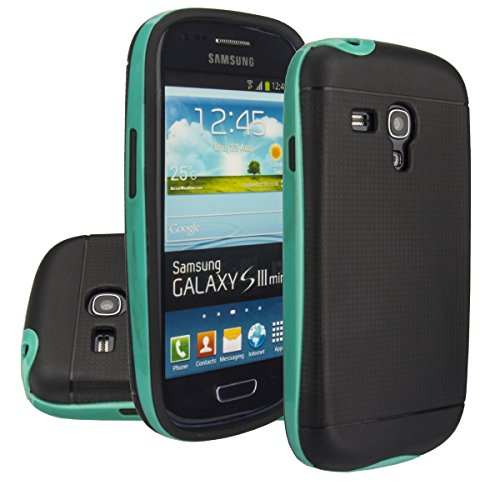 Galaxy S3 Mini case,Aomax® Armor [Dual Bumper] Slim Fit Skin Silicone Case + PC Bumper Frame+ Metallized Buttons+ HD Screen Protector for Samsung Galaxy S3 Mini I8190 (DHF Green) (Phone Case Samsung Galaxy S3 Mini compare prices)