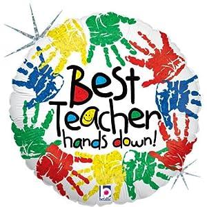 "Amazon.com: Best Teacher Hands Down Painted 18"" Mylar Balloon: Health"