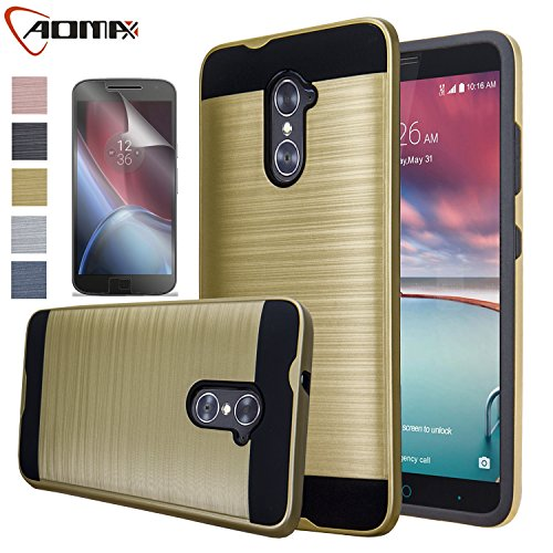 ZTE Imperial Max Case, ZTE Grand X Max 2 Case, Aomax Hard Silicone Rubber Hybrid Armor Shockproof Protective Holster Cover Case With HD Screen Protector For ZTE Kirk Z988 / Duo Z963U(VLS Gold) (Zte Imperial Charging Case compare prices)