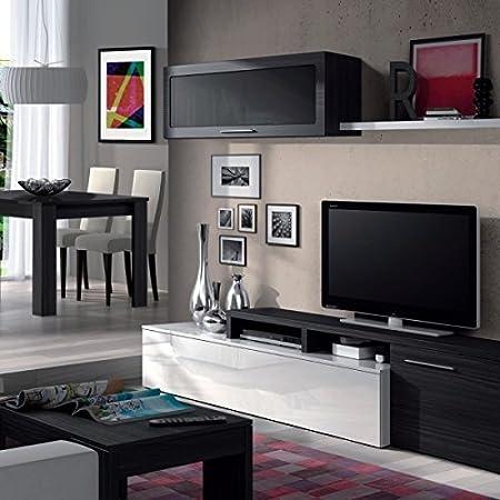 ENVIO BALEARES Y PENINSULA - Mueble de salón comedor moderno, medidas: 200x41/34x43 cm de alto (Blanco Brillo y Gris Ceniza)