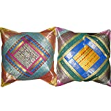 2 Ethnic Vintage Silk Sari Pillow Cushion Coversby Mogulinterior