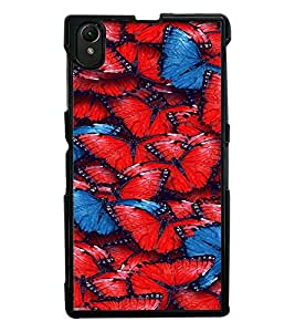 Fuson Premium Butterflies Metal Printed with Hard Plastic Back Case Cover for Sony Xperia Z1 L93h