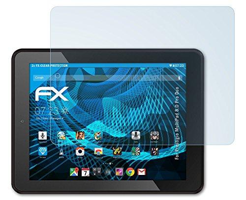 2 x atFoliX Displayschutzfolie Prestigio MultiPad 8.0 Pro Duo Schutzfolie - FX-Clear kristallklar