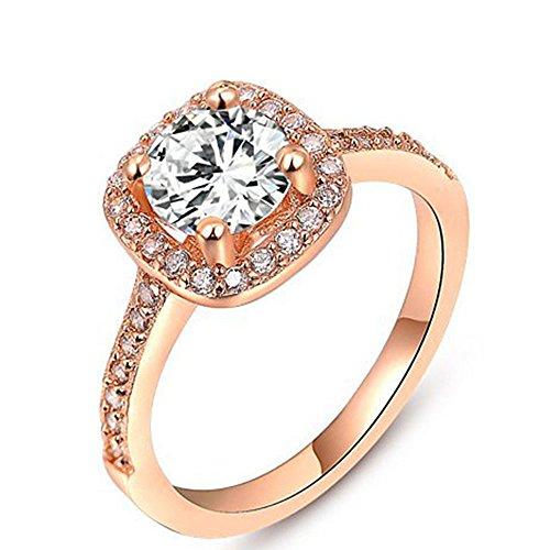 Winter.Z Womens Jewelry Circular Bead Square Ring Diamond Rose Gold Ring Wedding