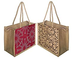 Foonty tote women pack of two small jute lunch bags(FFFWB5007)