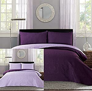 New King Bed Luxury 3-piece Microfiber Dark Purple / Lavender Reversible Bedspread Coverlet set Solid Bedding
