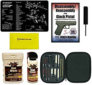 American Gunsmithing Institute DVD GLOCK Disassembly and Reassembly + Ultimate Arms Gear Gunsmith & Armorer's Work Bench Gun Mat GLOCK + GT03374 3/32 Punch Takedown Tool + Cleaning Kit Tube Chamber Care Supplies Kit Deluxe 17 pc Handgun Pistol Brushes Swa