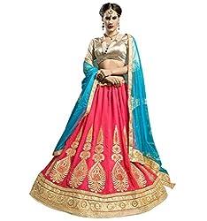 Jiya Presents Multi Embroidered And Embellished Georgette Semi-Stitched Lehenga Choli (Gajari)