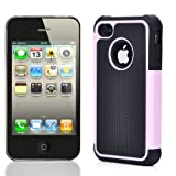 PINK / BLACK COMBO HARD CASE COVER SOFT GEL SKIN FOR IPHONE 4 G 4S 4th WITH SCREEN FILM PROTECTORS & STYLUS