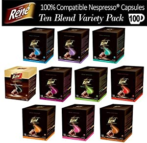 Purchase 100x Nespresso Compatible Coffee Capsules Pods featuring 10 Great Tasting Blends by Café Réne