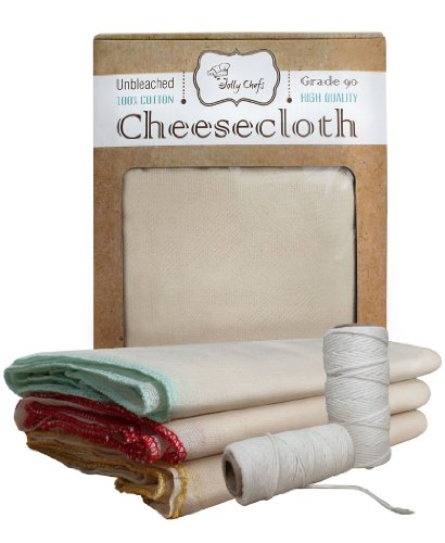 Cheesecloth Unbleached Chef Grade 90 Finest Mesh Available, 6 Sq Yards Pre Cut- Butter Muslin Quality, 100% Cotton - For Filter, Strainer, Tea and Spice Bags - Also with Extra 150 Feet Natural Cotton Twine