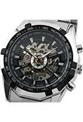 ESS Black Bezel Skeleton Dial Mechanical Automatic Watch Mens Stainless Steel Case WM257