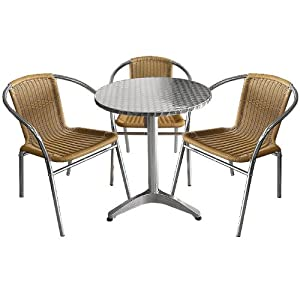 bistro set 60cm poly rattan bistrostuhl silber sandfarben 4tlg. Black Bedroom Furniture Sets. Home Design Ideas