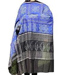 Indo Mood   Exclusive Hand spun, Hand woven Pure Cotton Sambalpuri Ikat Blue & Black Dupatta