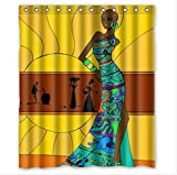 Custom-Distinctive-Cartoon-African-Woman-Waterproof-Bathroom-Shower-Curtain-Polyester-Fabric-60wx72h