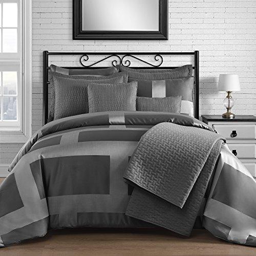 king queen home modern frame microfiber lacquer 5 piece comforter set. Black Bedroom Furniture Sets. Home Design Ideas