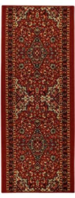 Custom Size Runner Red Beige Medallion Persian Traditional Non-Slip (Non-Skid) Rubber Back Stair Hallway Rug by Feet 22 Inch Wide Select Your Length