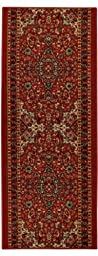 Custom Size Runner Red Medallion Persian Traditional Non-Slip (Non-Skid) Rubber Back Stair Hallway Rug by Feet 22 Inch Wide Select Your Length 22in X 9ft